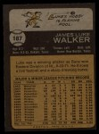 1973 Topps #187  Luke Walker  Back Thumbnail