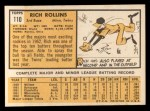 1963 Topps #110  Rich Rollins  Back Thumbnail