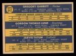 1970 Topps #642   -  Greg Garrett / Gordon Lund / Jarvis Tatum Angels Rookies Back Thumbnail