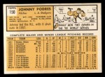1963 Topps #150  Johnny Podres  Back Thumbnail
