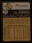 1973 Topps #17  Fred Gladding  Back Thumbnail