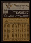 1973 Topps #21  Randy Hundley  Back Thumbnail