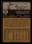 1973 Topps #44  Rick Monday  Back Thumbnail