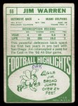 1968 Topps #66  Jim Warren  Back Thumbnail