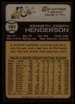 1973 Topps #101  Ken Henderson  Back Thumbnail