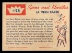 1960 Fleer Spins and Needles #28  La Vern Baker  Back Thumbnail
