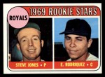 1969 Topps #49 Q  -  Steve Jones / Eliseo Rodriquez Royals Rookies Front Thumbnail