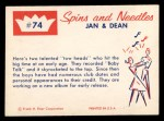 1960 Fleer Spins and Needles #74  Jan and Dean  Back Thumbnail