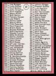 1969 Topps #57 B  -  Denny McLain Checklist 1   Back Thumbnail
