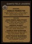 1973 Topps #252 *BRN*  -  Charlie Fox / Joe Amalfitano / Andy Gilbert / Don McMahon / John McNamara Giants Leaders Back Thumbnail