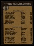 1973 Topps #62   -  Johnny Bench / Rich Allen HR Leaders Back Thumbnail