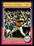 1975 Topps Mini #461   -  Reggie Jackson 1974 World Series - Game #1 Front Thumbnail
