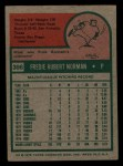 1975 Topps Mini #396  Fred Norman  Back Thumbnail