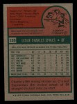 1975 Topps Mini #135  Charlie Spikes  Back Thumbnail