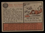 1962 Topps #180 GRN Bob Allison  Back Thumbnail