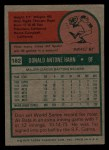 1975 Topps Mini #182  Don Hahn  Back Thumbnail