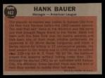 1962 Topps #463  Hank Bauer  Back Thumbnail