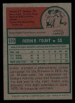 1975 Topps #223  Robin Yount  Back Thumbnail