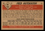 1953 Bowman #132  Fred Hutchinson  Back Thumbnail