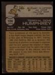 1973 Topps #106  Terry Humphrey  Back Thumbnail