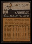 1973 Topps #42  Mike Andrews  Back Thumbnail