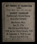 1951 Berk Ross #12 D Sandy Saddler  Back Thumbnail