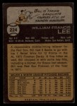1973 Topps #224  Bill Lee  Back Thumbnail