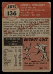 1953 Topps #136  Ken Heintzelman  Back Thumbnail