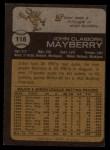 1973 Topps #118  John Mayberry  Back Thumbnail