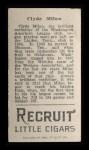 1912 T207  Clyde Milan    Back Thumbnail