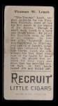 1912 T207 #101  Tommy Leach    Back Thumbnail