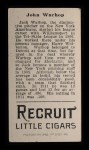 1912 T207  Jack Warhop    Back Thumbnail
