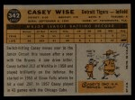 1960 Topps #342  Casey Wise  Back Thumbnail