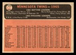 1966 Topps #526   Twins Team Back Thumbnail