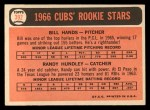 1966 Topps #392   -  Randy Hundley / Bill Hands Cubs Rookies Back Thumbnail