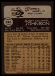 1973 Topps #248  Jerry Johnson  Back Thumbnail
