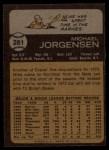 1973 Topps #281  Mike Jorgensen  Back Thumbnail