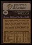 1973 Topps #134  Milt Wilcox  Back Thumbnail