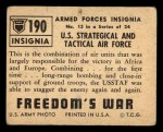 1950 Topps Freedoms War #190   U.S. Strategical and Tactical  Back Thumbnail