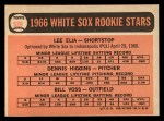 1966 Topps #529   -  Lee Elia / Dennis Higgins / Bill  Voss White Sox Rookies Back Thumbnail