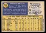 1970 Topps #117  Don Young  Back Thumbnail
