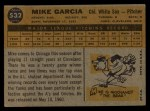 1960 Topps #532  Mike Garcia  Back Thumbnail