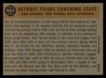 1960 Topps #461   -  Tom Ferrick / Luke Appling / Billy Hitchcock Tigers Coaches Back Thumbnail