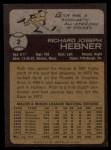1973 Topps #2  Rich Hebner  Back Thumbnail