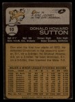 1973 Topps #10  Don Sutton  Back Thumbnail