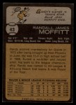 1973 Topps #43  Randy Moffitt  Back Thumbnail