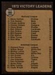 1973 Topps #66   -  Steve Carlton / Gaylord Perry / Wilbur Wood Victory Leaders Back Thumbnail