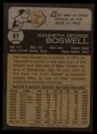 1973 Topps #87  Ken Boswell  Back Thumbnail