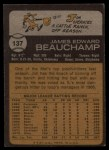 1973 Topps #137  Jim Beauchamp  Back Thumbnail
