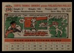1956 Topps #290  Curt Simmons  Back Thumbnail